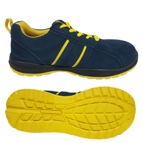 Navy suede leather safety trainer JT-238NY