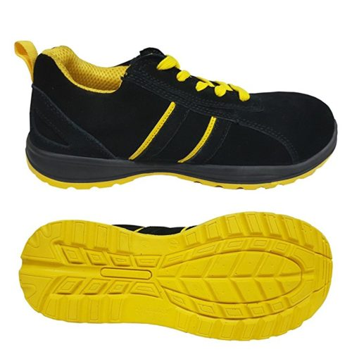Black suede leather safety trainer shoes JT-238BY