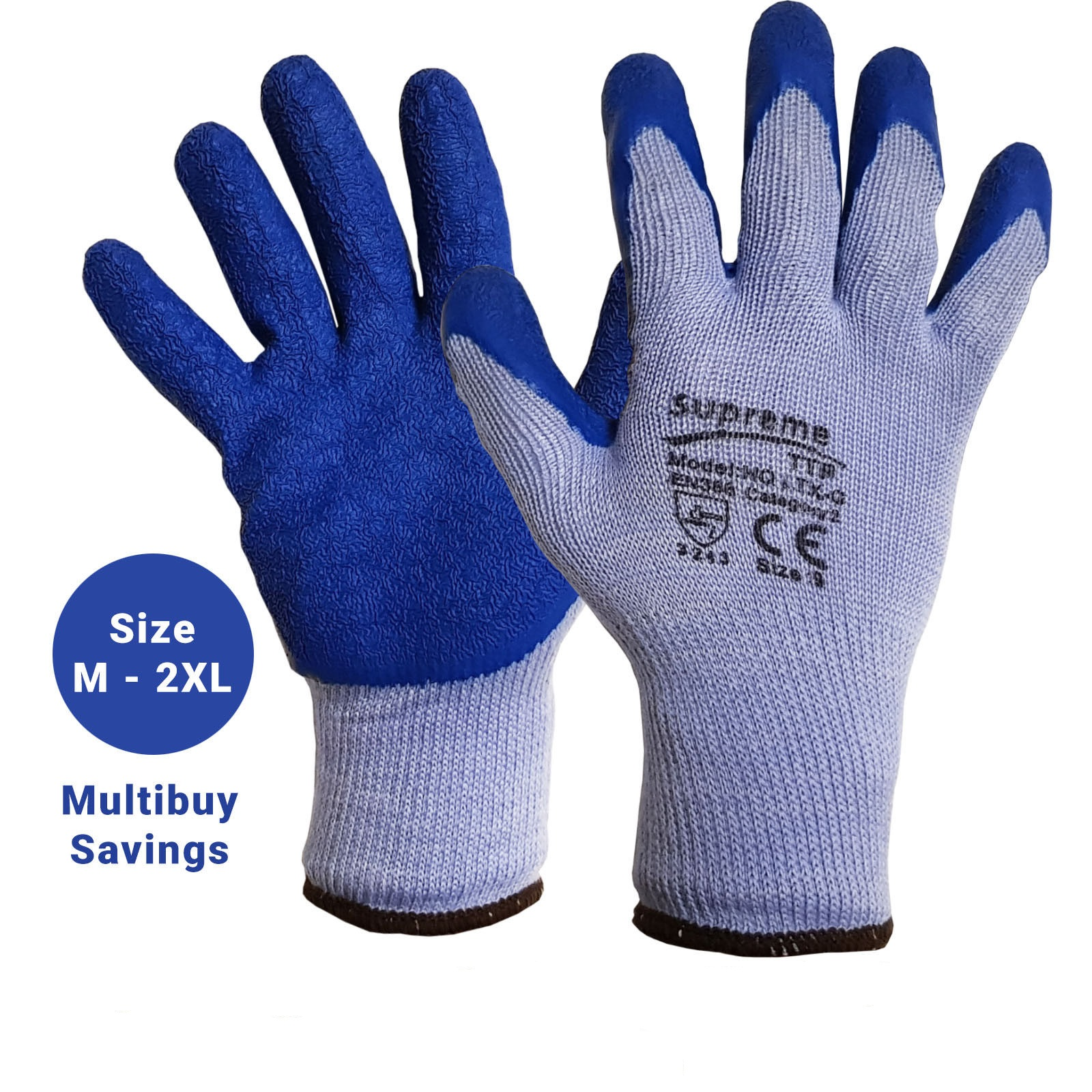 Latex Coated Nylon Rubber Work Gloves Builder Gardening Grip