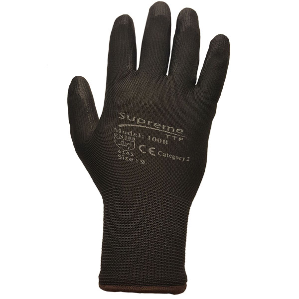 Black Polyurethane Coated Gloves 100BB