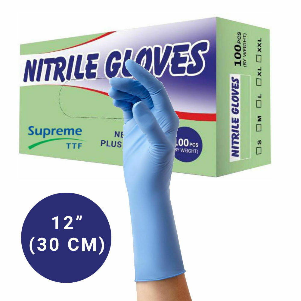 Heavy Duty Blue Nitrile 12″ Long Cuff Disposable Gloves Powder Free