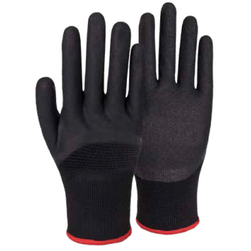 13G Polyester/Acrylic Napping Shell Nitrile Sandy Half Coated Gloves DN112